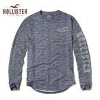 ショッピングホリスター ホリスター HOLLISTER メンズ  ロンT 長袖 テクスチャード ロゴグラフィックTシャツ 62674 ブルー