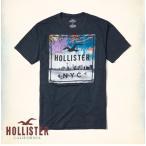 ショッピングホリスター ホリスター HOLLISTER メンズ Tシャツ 半袖 限定アイテム クルーネック デスティネーション グラフィックTシャツ ネイビー
