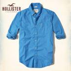 ショッピングホリスター ホリスター HOLLISTER 新作 メンズ 長袖 ボタンダウン ストレッチ ポプリンシャツ  ブルーチェック