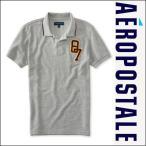 エアロポステール ポロシャツ Tシャツ メンズ AEROPOSTALE 半袖 アップリケ 87 Tipped Pique Logo Polo 8230 ライトヘザーグレー