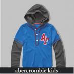アバクロ キッズ 長袖 パーカー フーディー Tシャツ ボーイズ AbercrombieKids Kids layered baseball tee 62151 ブルー