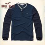 ホリスター HOLLISTER メンズ  ロンT 長袖 ヘンリー Textured Jersey Henley 62407 ネイビー