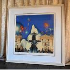 絵画 ヒロ、ヤマガタ コンコルド広場の噴水 版画 シルクスクリーン