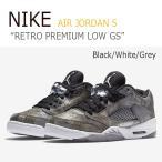 ショッピングNIKE NIKE AIR JORDAN 5 RETRO PREMIUM LOW GS/Black/White/Grey ナイキ  ジョーダン5  819951-003 シューズ