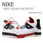 ショッピングNIKE NIKE JORDAN 4 RETRO PS/White/black/fire Red ナイキ  ジョーダン4  308499-110 シューズ