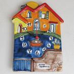 ショッピングイタリア イタリア製、彩色陶器の時計 池のほとりの小さなおうち   PRC-81B