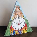 ショッピングイタリア イタリア製、彩色陶器の時計 丘の上の館 PRC-81P