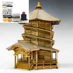 ウッディジョー/木製建築模型 1/75会津さざえ堂+塗料セット