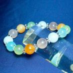 パワーストーン 数珠 誕生石  キャンディ カルセドニー マルチカラー 10mm玉 平珠水晶 ブレスレット 【ゆうパケット不可】