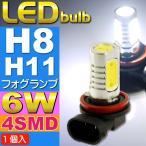 送料無料 6W LEDフォグランプH8/H11ホワイト1個 超明るいSMD LED H8/H11兼用 明るいフォグランプLED H8/H11 爆光LEDバルブ H8/H11 as90