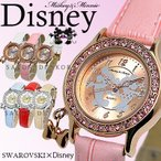 Yahoo!ABY House【セール】Disney ディズニー ミッキー&ミニー ラブキッス腕時計 レディース ピンク×クリスタル NFC130514