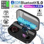 ワイヤレスイヤホン bluetooth5.0 ブルートゥースイヤホン カナル型 3000mAh大容量 両耳 左右分離型 LED残量表示 iPhone Android Siri対応 動画説明あり