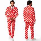 ショッピングバレンタイン 派手 スーツ メンズ 大人 男性 コスチューム ハート 総柄 赤 オッポスーツ OppoSuits バレンタインデー ハロウィン 仮装 パーティ