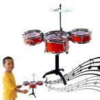 赤のドラムセット デスクトップ 卓上 楽器 パーカッション 打楽器 子供用 音楽 ロック おもちゃ 知育玩具 クリスマス プレゼント ギフト