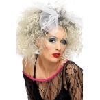 ハロウィン マドンナ風 かつら ウィッグ リボン付 レディース 80年代 80's 金髪 ブロンド 歌手 アイドル コスプレ 変装 ポップスター 大人 女性