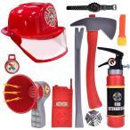 ショッピングコスプレ 子供用 消防士 おもちゃ 10点セット ヘルメット 消火器 メガホン トランシーバー なりきり 仮装 コスプレ グッズ
