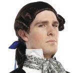 ハロウィン茶色かつらウィッグ男性中世コロニアルルネサンス貴族仮装コスプレ変装グッズ三つ編みポニーテール