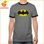 バットマン Tシャツ ロゴ Tシャツ 大人 メンズ ヘザー グレー リンガー DCコミックス