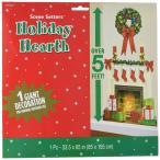 クリスマス ウォールステッカー 壁紙 暖炉 インテリア 室内 装飾 飾り シール 165cm x 85cm