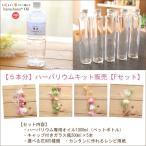 【5本分】【16%OFF】ハーバリウムお試しキット【Fタイプ】(オイル1本、ガラス瓶5本、花材セット5種類)