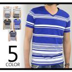 ショッピングTシャツ Tシャツ 半袖 メンズ Vネック ボーダー 半袖Tシャツ マリンボーダー カットソー 春 夏 秋