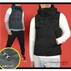 中綿ベスト メンズ ジャケット はおり 暖かい フェイク ダウンベスト ボリュームネック パーカー 止水ジップ 軽量 秋冬