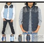 中綿 ダウンベスト メンズ ジャケット はおり 暖かい デニムベスト  ツイルベスト ウエスタン ベスト  軽量 カジュアル 秋 冬