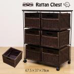 ラタンチェスト 6杯 タテ型 TMR-6T アジアン家具 完成品 引き出し収納