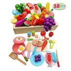 Yahoo!ADNEXT木玩社(きがんしゃ)のままごと モンテッソーリ 知育玩具 天然木 お肉&お魚&果物&食器セット 積み木 組み立て 切る遊び 木製おもちゃ 食器ボックス