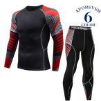 コンプレッションウェア メンズ 長袖 2点セット 加圧 トレーニングウェア スポーツウェア フィットネス
