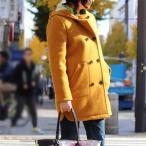 isato design works (イサトデザインワークス) ボンディング ウール フードハーフコート キャメル からし色 レディース