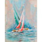 ヨットレース 絵画 海 風景画 アクリル画 ケリー・ハーレム 「アッパー・ガルベストン・ベイ」 額付き