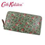 【ネコポス可】【在庫処分SALE】cc-515 キャスキッドソン 財布 304153 Zip Wallet Canvas Green 小花 グリーン