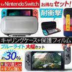 【お得なセット ケース&フィルム】 送料無料 Nintendo Switch キャリングケース 液晶保護シート 耐衝撃  ブルーライトカット AIFS-SWKC