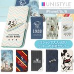 ディズニー iPhone8 iPhone7/6s/6 ミッキーマウス 手帳型 ケース ストラップホール レッド カーキ ブルー PG-DFP22