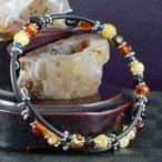 MIX アンバー 琥珀 ワイヤー ブレスレット パワーストーン 天然石