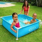 プール フレームプール ミニプール ボックスプール 120×120cm 子供用 組立 設置 簡単 家庭用 ###プール17256###