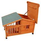 夏は涼しく!冬は暖か!木製 サークル付き 犬小屋 ペットハウス 98×78×72cm###犬小屋DHDX007###