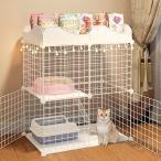 ペットケージ キャットケージ 2段 ステップ台 ジョイント式 猫ケージ 猫 キャット 軽量 ケージ ペット ゲージ 犬小屋 ペットフェンス ###ゲージ9X73XCM-WH###
