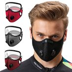 スポーツマスク 5層フィルター 活性炭フィルター メッシュ 呼吸バルブ換気口 アイガード付き ズレない 蒸れない  ###マスクBKZ-JP-###