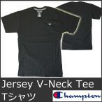 チャンピオン Tシャツ メンズ 半袖 Vネック 黒 ブラック USA CHAMPION Jersey T4651 5023