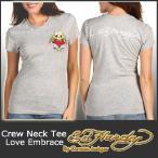 エドハーディー Tシャツ レディース 半袖 丸首 ラブ&スカル/灰 グレー A1XBHA56 ラブエンブレイス グレイ EDHARDY 1054