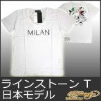 エドハーディー Tシャツ メンズ 半袖 ラインストーン MILAN/ホワイト 白 EDHARDY 5235