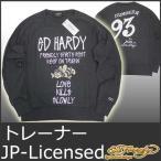 エドハーディー トレーナー メンズ スウェット 長袖 ラグラン ミツバチ蜜蜂 黒 ブラック Ed Hardy ESCT003 EDHARDY 5338 冬