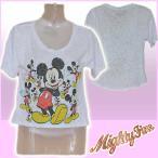 マイティーファイン Tシャツ シースルー 半袖 レディース ミッキー/ホワイト 白 Mickey Galore Disney ディズニー マイティファイン MiniFine MIGHTY FINE 1001