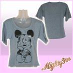 マイティーファイン Tシャツ レディース 半袖 ミッキーマウス/グレイ MIGHTY FINE Mickey Disney ディズニー ミニファイン KITSON 1006