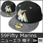 ニューエラ キャップ メンズ 帽子 マイアミ マーリンズ 黒 メジャーリーグ NEW ERA 59Fifty MLB Miami Marlins 9013