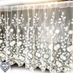 【幅120cm縦60cm】コットン刺繍のチュールレース アイボリー 『カフェカーテン』 / ナチュラル可愛い 北欧 草花柄 小窓用 人気
