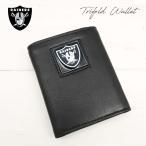 【RAIDERS 3つ折りレザー財布 箱入り】NFLレイダース公式ライセンス商品本格レザーウォレット
