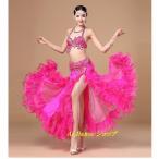 新着 ベリーダンス 衣装 ブラトップ ベルト スカート 3点セット  全4色展開